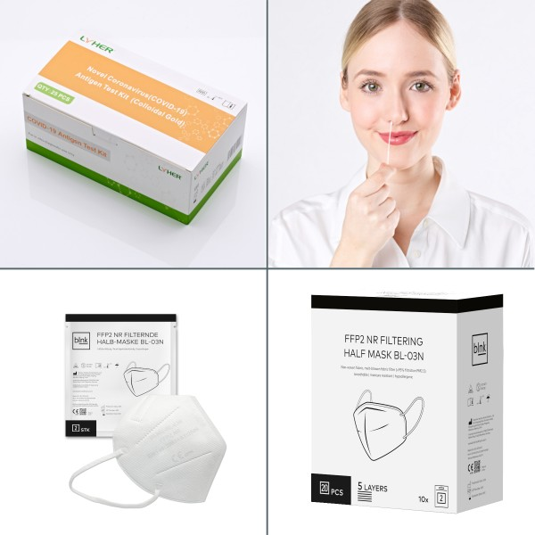 Paket mit 5 LYHER® Antigen Tests und 20 FFP2-Masken
